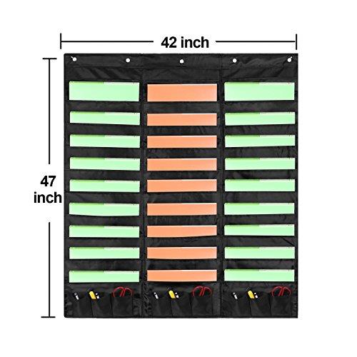 Samstar Wall File Folder Organizer (Black), Storage Pocket Chart for School, Classroom, Home or Office Use, 30 Pocket Chart Hanging Wall Organizer with 5 Hangers by SamStar (Image #2)