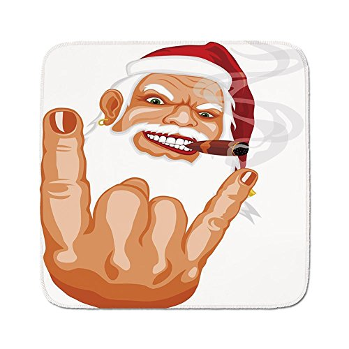 (Cozy Seat Protector Pads Cushion Area Rug,Christmas,Santa Claus Making Mouse Rocker Gesture Smoking A Cigar Noel Humor Celebration Decorative,Multicolor,Easy to Use on Any Surface)