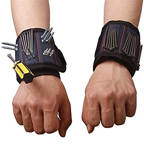 Magnetic Wristband with Strong Magnets for Holding Screws Nails Drill Bits Best Tool Gift for DIY Handyman Men Women CTD02 (1 Pack)