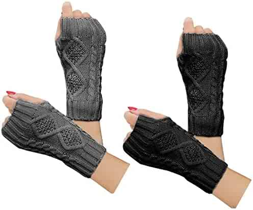 f0aa08290 2 Pairs Women Winter Warm Knit Fingerless Gloves Hand Crochet Thumbhole Arm  Warmers Mittens