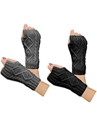 2-4 Pairs Women Winter Warm Knit Fingerless Gloves Hand Crochet Thumbhole Arm Warmers Mittens