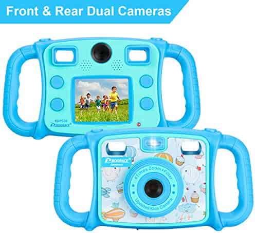 "Prograce Kids Camera Dual Selfie Camera 1080P HD Video Recorder Digital Action Camera Camcorder for Boys Girls Gifts 2.0"" LCD Screen with 4X Digital Zoom and Funny Game(Blue)"