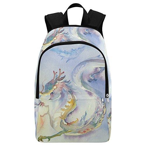 InterestPrint Watercolor Dragon Custom Casual Backpack School Bag Travel Daypack Gift