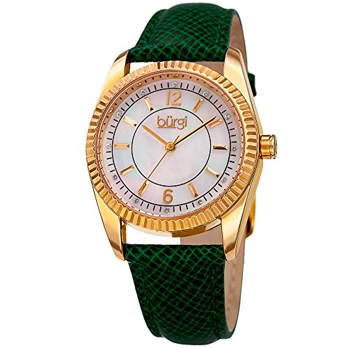 Burgi Women's Swarovski Crystal Accented White Mother-of-Pearl Dial with Gold-Tone Case on Genuine Leather Green Strap Watch BUR167GN