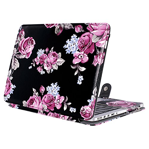 MOSISO PU Leather Case Compatible MacBook Pro 13 Inch with Retina Display No CD-ROM (A1502/A1425, Version 2015/2014/2013/end 2012), Book Cover Folio Sleeve with Stand Function, Peony