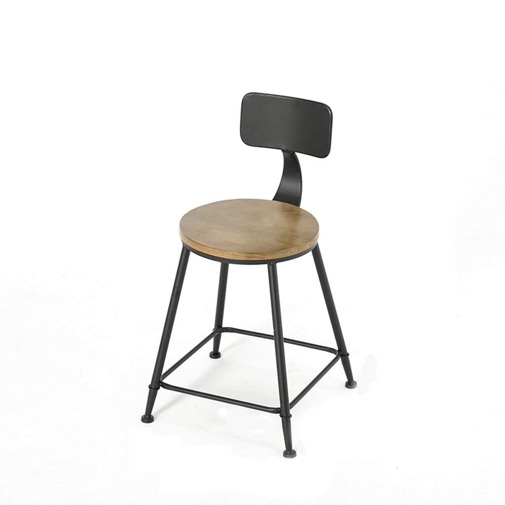 45CM Retro Bar Chair, Simple Personality Breakfast Stool Industrial Style Wooden Dining Chair Metal Frame Peninsula Kitchen Furniture, for Restaurant, Counter, Shopping Mall, Bar, Cafe (Size   75CM)