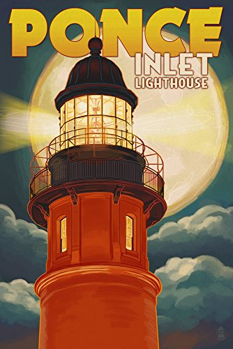 Ponce De Leon Inlet, Florida - Lighthouse and Moon (16x24 Giclee Gallery Print, Wall Decor Travel Poster)