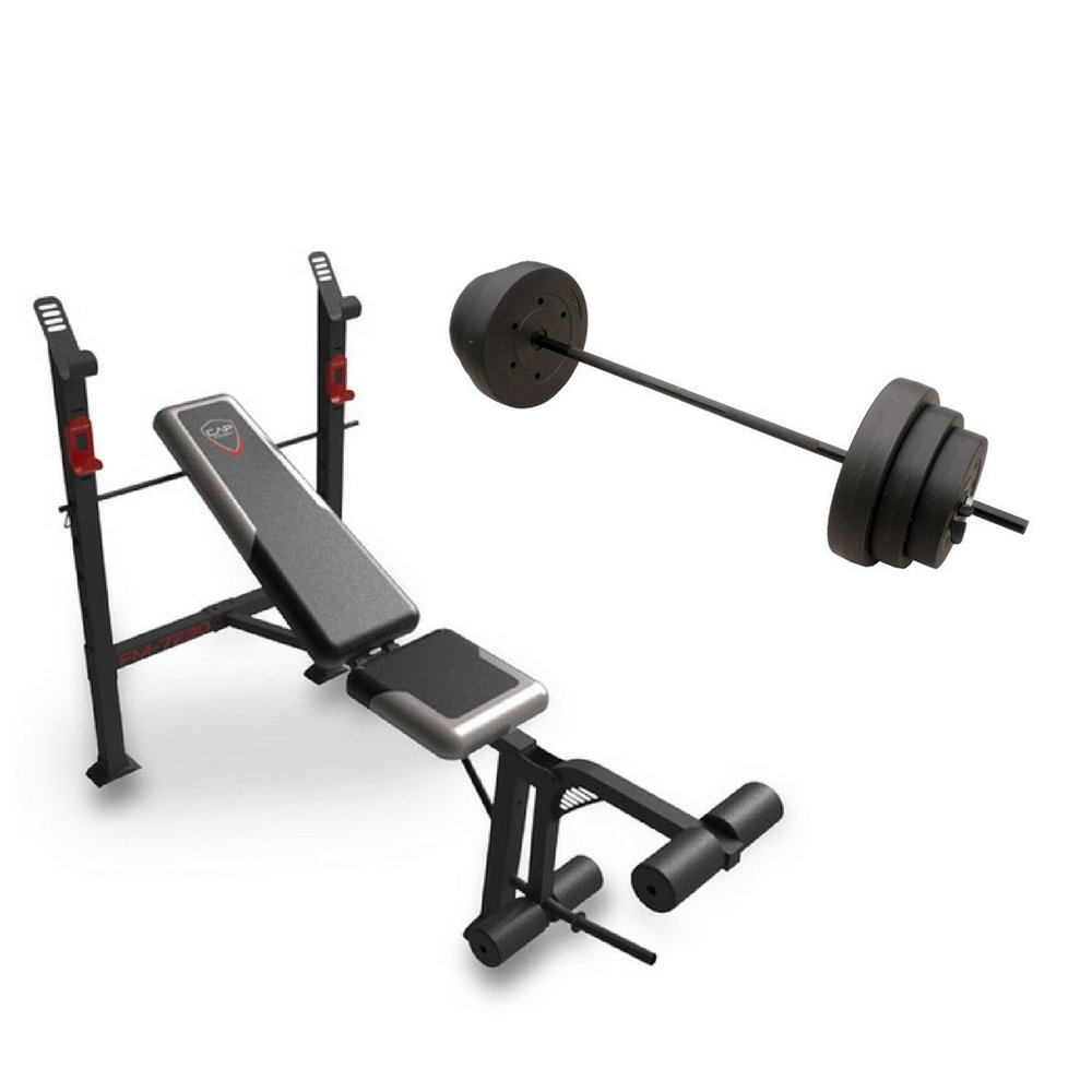 CAP Barbell FM-7230 Steel-framed Strength Standard Bench with Leg Lift w/ 100-Pound Weight Set by CAP Barbell
