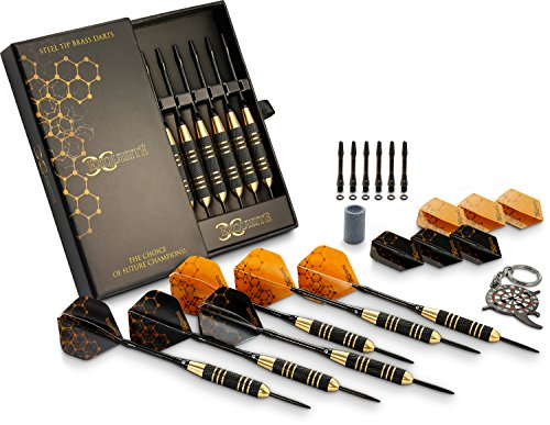 CC-Exquisite Professional Steel Tip Darts Set - Custom Shaft and Flight Setup | 6 Brass Barrels 22grams | 12 Aluminum Shafts 35/48mm | 12 Flights Standard/Slim | Darts Sharpener | Darts tool and Case