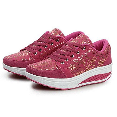 Pendenza Rossa Casual Camminano Corsa Donne Respirabili Da Zhenghewyh Che Sneaker Sport Scarpe Piattaforma Rosa AwS66xqX