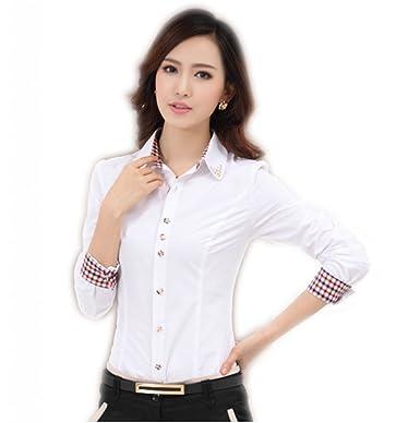 WSLCN Femme Chemise D'Affaires Blouse Manches Longues Col en Strass  Moulante: Amazon.fr: Vêtements et accessoires