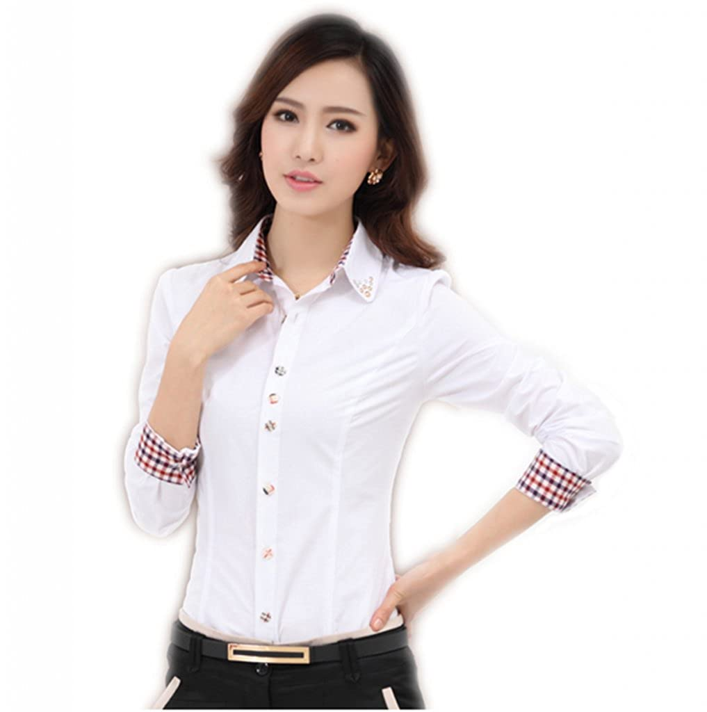 4b2464f7f6d Women s Elegant Metall Decoration Collar Casual Button Down Shirt Long  Sleeve US M (Asian XXL) White at Amazon Women s Clothing store
