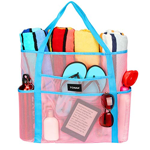 Mesh Beach Bag Toy Tote Bag Grocery Storage Net Bag Oversized Big XL with Pockets Foldable Lightweight for Family Pool Pink Color ()