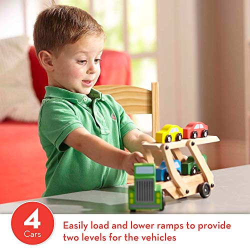 "Melissa & Doug Car Carrier Truck & Cars Wooden Toy Set (Compatible with Wooden Train Tracks, Quality Wood Construction, 13.8"" H x 6.7"" W x 3.35"" L)"