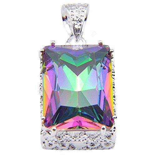 Luckyshine Antique Square Fire Rainbow Mystic Topaz Silver Fashion Pendants Necklaces
