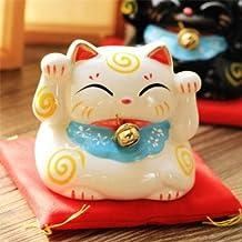 EatingBitiing(R)7.5cm Feng Shui Lucky Ceramics White Cat Wealth Beckoning Waving Decor , Maneki Neko Savings Bank , Home Office Desk Table Party Decoration , Vivid Cute Holidays Gifts .