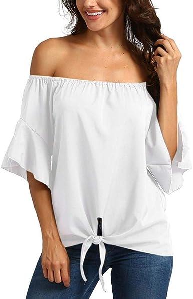 Blusas Ladies Off Shoulder Camisas De Manga Larga Blusas Camisas Ropa Sueltas Tops De Gasa Tops De Mujer Elegante Ocio Blusa De Encaje De Túnica Camiseta De Mujer: Amazon.es: Ropa y accesorios