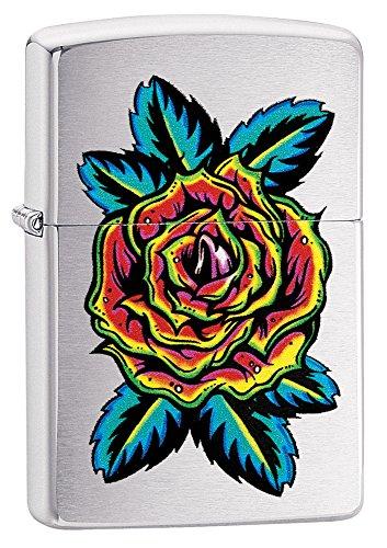(Zippo Flower Tattoo Pocket Lighter, Brushed Chrome)