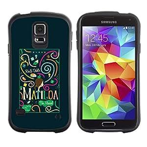 """Hypernova Slim Fit Dual Barniz Protector Caso Case Funda Para Samsung Galaxy S5 [Texto del trullo Verde Negro Pequeñas""""]"""