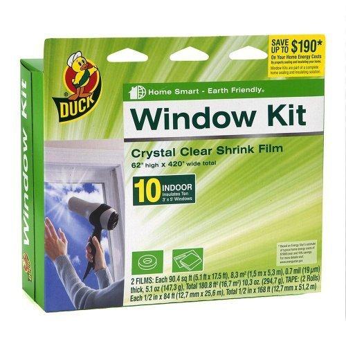 2 Pack of Duck Brand 281506 Indoor 10-Window Shrink Film Insulator Kit, 62-Inch by 420-Inch ()