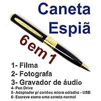 Caneta Espia, Filma, Fotografa Colorido e Grava Audio - com Dourado