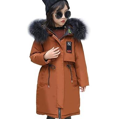 LPATTERN Fille Manteau d hiver Chaude Veste d extérieur Mi-Longue Enfant  Doudoune f9c757f679b