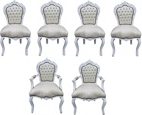 Casa Padrino Barock Esszimmer Set Stuhl Set Weiß Muster / Weiß - 4 Stühle ohne Armlehnen + 2 Stühle mit Armlehnen - Möbel Antik Stil