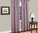 lovemyfabric Gingham/Checkered 100% Polyester Curtain Window Treatment/Decor Panel-Purple and White (2, 56″X96″) For Sale