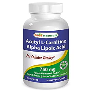 Best Naturals Acetyl L Carnitine and Alpha Lipoic Acid 750 mg 120 Capsules