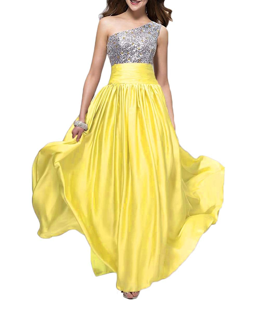 Yellow alilith.Z Bling Bling Crystals Sequins Prom Dresses 2019 Long Sexy One Shoulder Satin Evening Dresses Party Gowns for Women