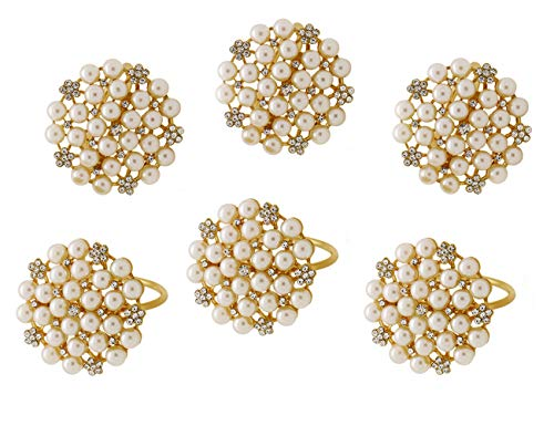 LuReen Set of 6 Napkin Rings with Vintage Pearls Flower for Wedding Banquet Christmas Dinner Decor Favor (Gold Pearls) (Flower Napkin Rings)
