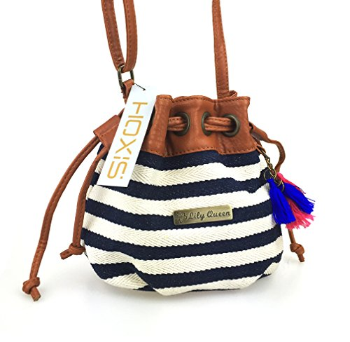 Drawstring Tote Handbag (Hoxis Totem Canvas Drawstring MINI Bucket Shoulder Bag Satchel (Navy))