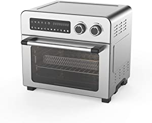 Convection Toaster Oven Air fryer Combo 10-in-1 Countertop Conventional Electric Touchscreen Digital Stainless Steel Compact Baking Roasters With Rotisserie Dehydrator Original Recipe Included Small Appliances with LED Display for Kitchen Home 24 QT Large Capacity (23L, Stainless)