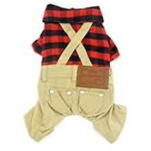 """Gollyking Dog Jumpsuit Overalls Costume Cotton Plaid Shirt Style Soft Spring Autumn Winter Clothes Outfits Sweater For Small Boy Girl Puppy Cats Pets (Cotton Plaid Shirt Style, M for back length 10"""",weight 2.2-5.5 lbs)"""