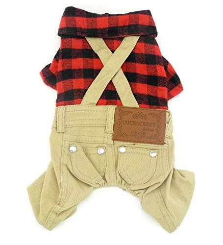 Gollyking Dog Jumpsuit Overalls Costume Cotton Plaid Shirt with Pants...