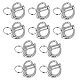 Snap Shackle, Mergorun 316 Stainless Steel 35mm Fixed Snap Anchor Shackle Rigging Silver Fixed Eye Bail with Eye Ring for Sailboat (10)