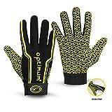Optimum Senior Velocity Rugby Gloves, Black/Yellow, Small