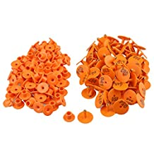 RDEXP Orange 3x2.5cm Plastic Round Shaped Livestock Ear Tag Goat Sheep Pig Number 001-100 Tag Marker Label Set of 100