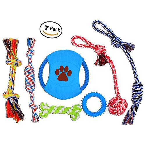 Nolsen Pet Dog Rope Toys Puppy Chew Toy Gift Set Durable Cotton Clean Teeth for Small and Medium Dog 7 (Gifts For Pets)