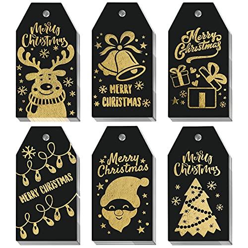 SallyFashion Christmas Gold Foil Gift Tags, 120PCS Christmas Gold Foil Hot Stamping Gift Tags with Twine Strings Hang Labels for Christmas Birthdays Holidays Weddings
