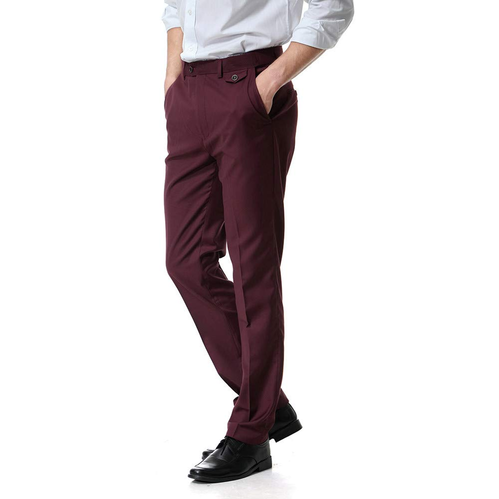 TANLANG Mens Straight Leg Fit Flat Front Dress Pants Business Casual Pocket Overalls Pocket Work Trousers