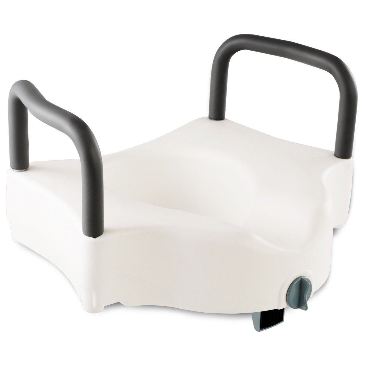 GHP 220-Lbs Capacity White PE & Aluminum Medical Toilet Seat with Removable Armrests