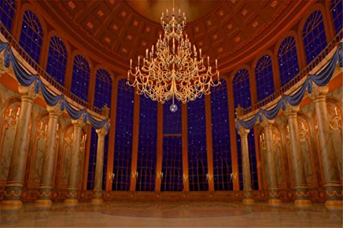 Photography Backdrop 7x5 Beauty and The Beast Palace Scene Backgrounds for Wedding Photo Booth Pictures Glitter Star Windows View Backdrops for Wedding Reception ()