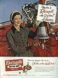 Miss Rheingold Beer Anne Hogan ad 1952 ringing fire engine bell