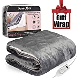 """H & A Heated Throw Fast Heating Blanket Flannel & Sherpa Reversible with 2 Hours Auto Off and 3 Temperature Settings, Bed Sofa Use & Machine Washable 63"""" x 51"""" (160cm130cm)"""