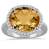Silvercz Jewels 8 Carat oval Citrine & Simulated Diamond Ring In 14K White Gold Plated