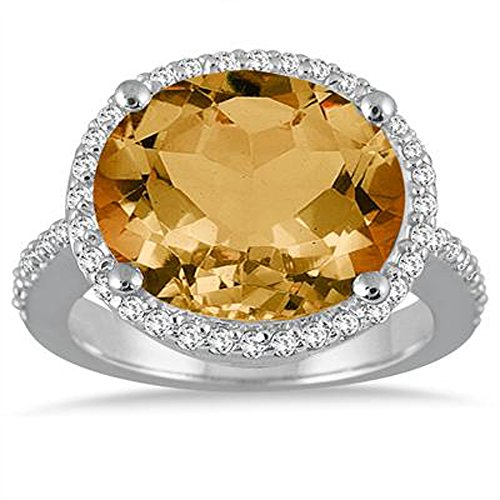 Silvercz Jewels 8 Carat oval Citrine & Simulated Diamond Ring In 14K White Gold Plated by Silvercz Jewels (Image #1)