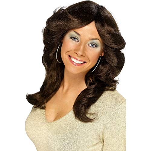 70s Flick Feathered Brown Wig ()
