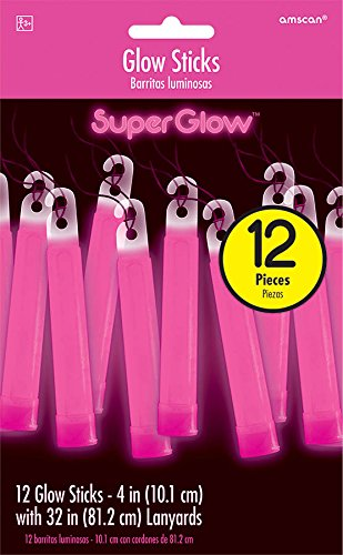 - Gleaming Super Glow Stick Necklace Party Accessories, Pink, Plastic, 4