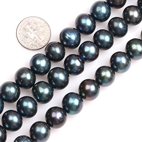 GEM-inside 11mm Black with Peacock Green Luster Round Pearls Loose Stone Beads for Jewelry Making Strand 15